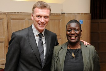 Julia Emelogu and David Moyes Everton FC Manager
